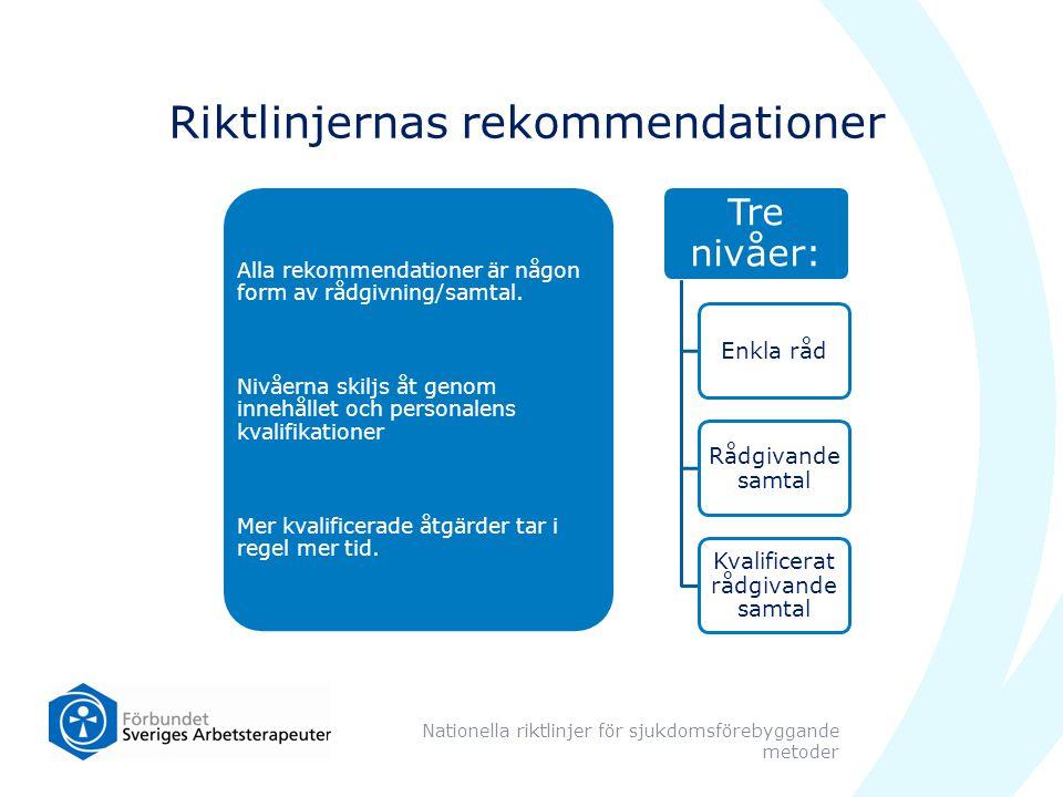Riktlinjernas rekommendationer Alla rekommendationer är någon form av rådgivning/samtal. Nivåerna skiljs åt genom innehållet och personalens kvalifika