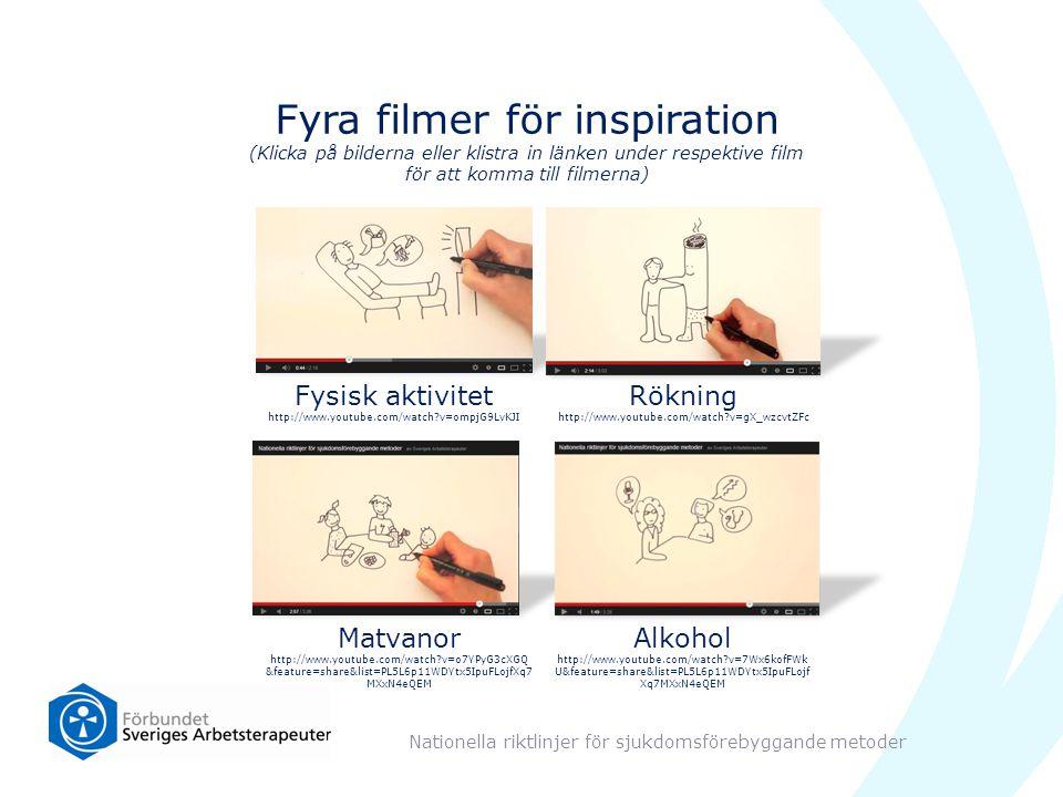 Fyra filmer för inspiration (Klicka på bilderna eller klistra in länken under respektive film för att komma till filmerna) Nationella riktlinjer för sjukdomsförebyggande metoder Matvanor http://www.youtube.com/watch?v=o7YPyG3cXGQ &feature=share&list=PL5L6p11WDYtx5IpuFLojfXq7 MXxN4eQEM Alkohol http://www.youtube.com/watch?v=7Wx6kofFWk U&feature=share&list=PL5L6p11WDYtx5IpuFLojf Xq7MXxN4eQEM Fysisk aktivitet http://www.youtube.com/watch?v=ompjG9LvKJI Rökning http://www.youtube.com/watch?v=gX_wzcvtZFc