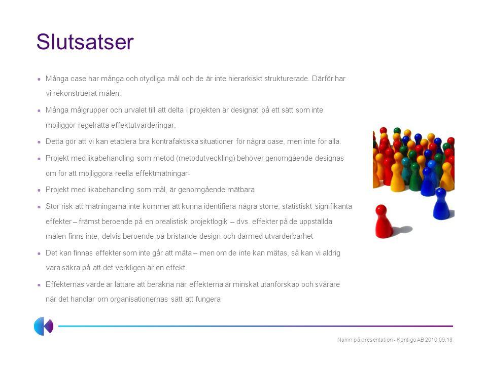 Slutsatser ● Många case har många och otydliga mål och de är inte hierarkiskt strukturerade. Därför har vi rekonstruerat målen. ● Många målgrupper och