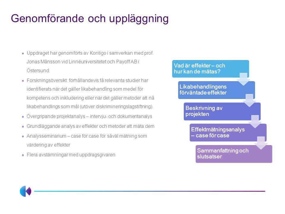 Genomförande och uppläggning ● Uppdraget har genomförts av Kontigo i samverkan med prof. Jonas Månsson vid Linnéuniversitetet och Payoff AB i Östersun