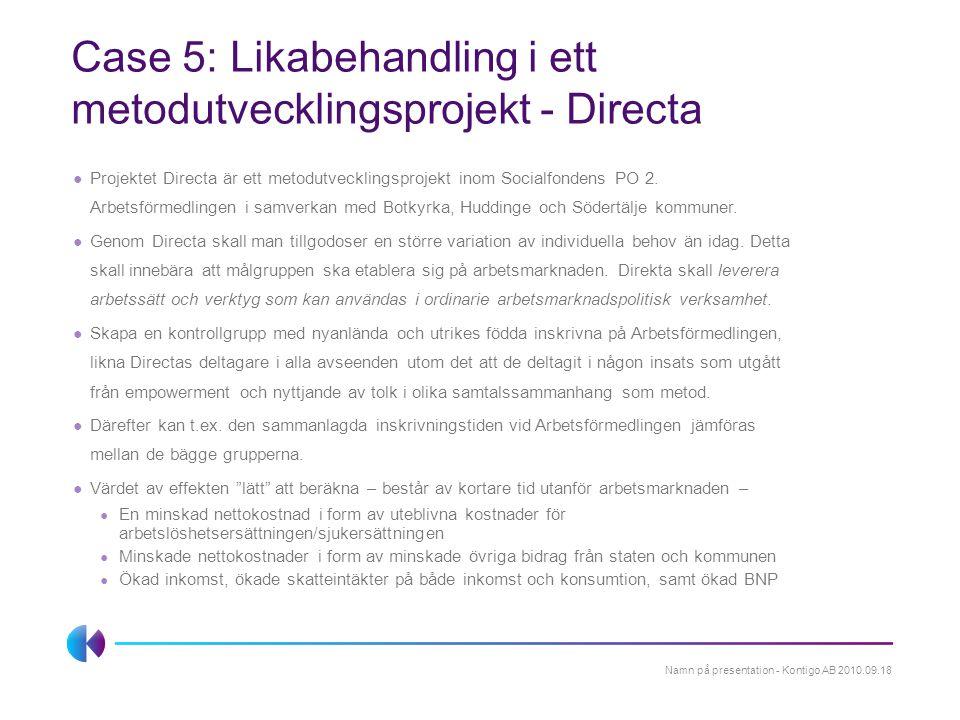 Case 5: Likabehandling i ett metodutvecklingsprojekt - Directa ● Projektet Directa är ett metodutvecklingsprojekt inom Socialfondens PO 2. Arbetsförme