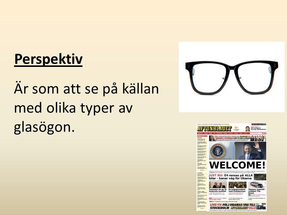 Perspektiv Är som att se på källan med olika typer av glasögon.