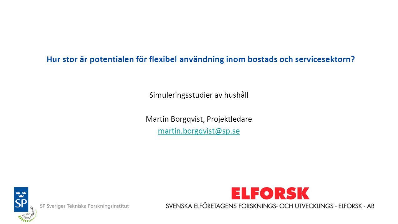 Hur stor är potentialen för flexibel användning inom bostads och servicesektorn? Simuleringsstudier av hushåll Martin Borgqvist, Projektledare martin.