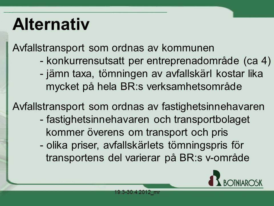 Alternativ Avfallstransport som ordnas av kommunen - konkurrensutsatt per entreprenadområde (ca 4) - jämn taxa, tömningen av avfallskärl kostar lika m