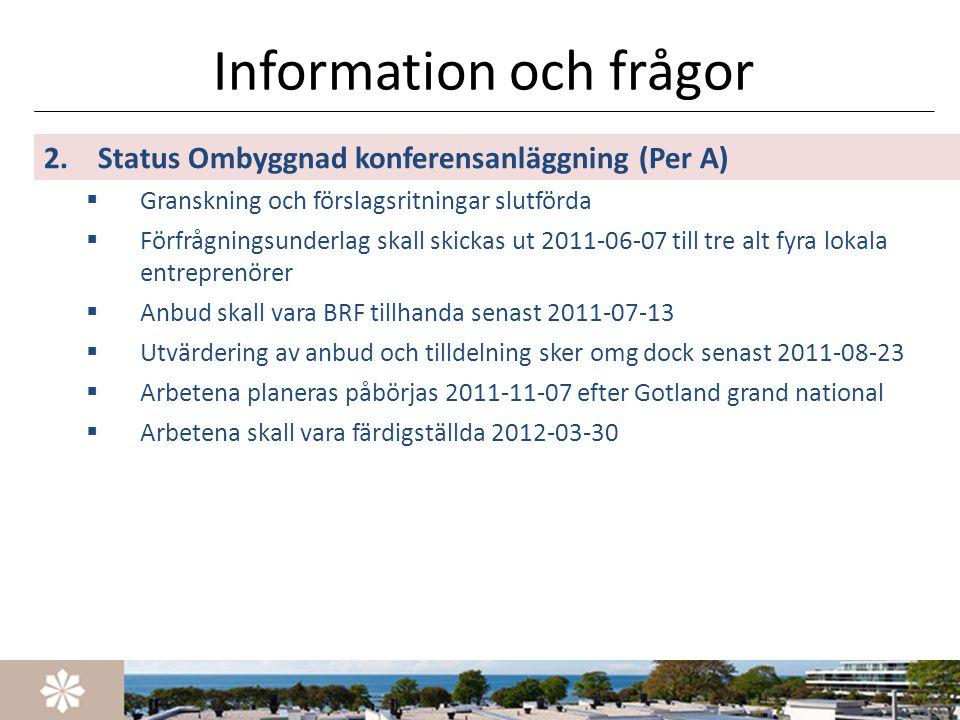 Information och frågor 2.Status Ombyggnad konferensanläggning (Per A)  Granskning och förslagsritningar slutförda  Förfrågningsunderlag skall skicka