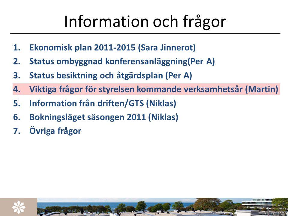 Information och frågor 1.Ekonomisk plan 2011-2015 (Sara Jinnerot) 2.Status ombyggnad konferensanläggning(Per A) 3.Status besiktning och åtgärdsplan (P
