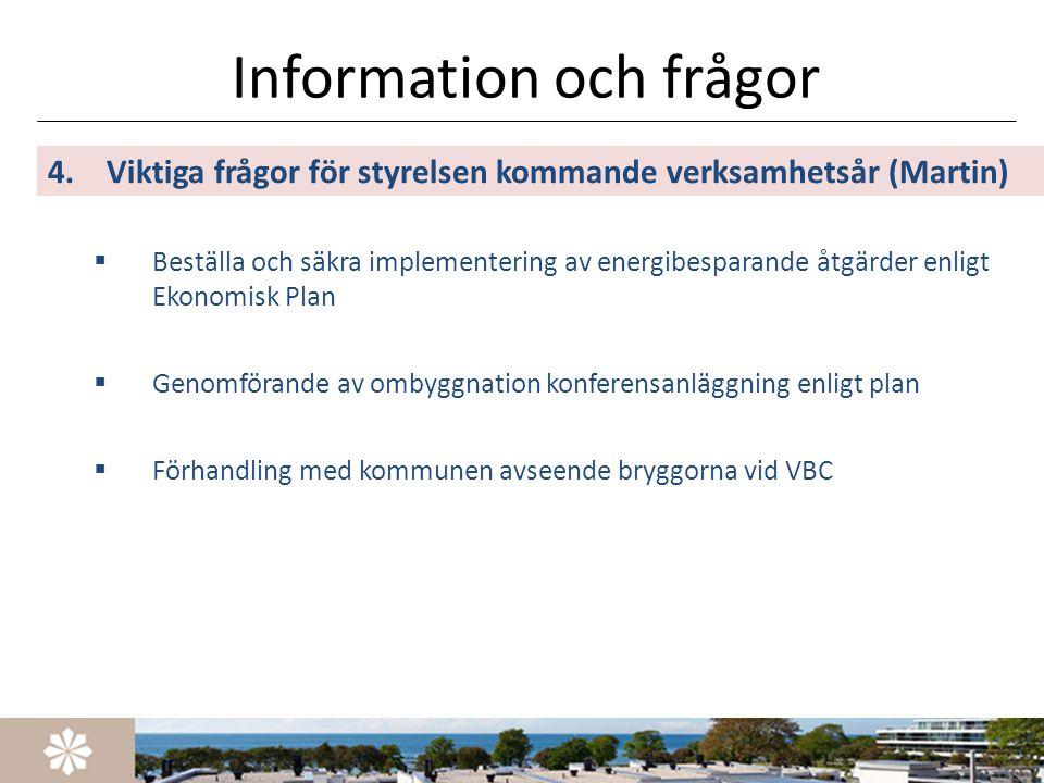 Information och frågor 4.Viktiga frågor för styrelsen kommande verksamhetsår (Martin)  Beställa och säkra implementering av energibesparande åtgärder
