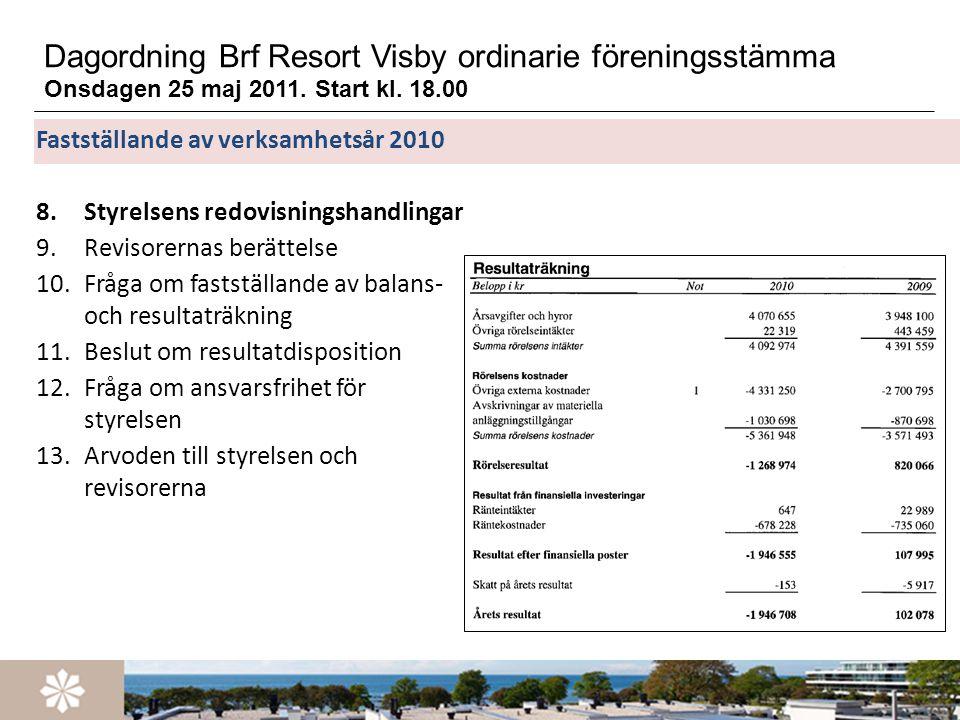 Dagordning Brf Resort Visby ordinarie föreningsstämma Onsdagen 25 maj 2011. Start kl. 18.00 Fastställande av verksamhetsår 2010 8.Styrelsens redovisni