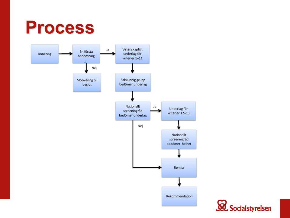 Bedömningskriterier forts 7.Testmetoden och fortsatt handläggning ska accepteras av avsedd population 8.Åtgärder vid tillståndet ska vara klarlagda och accepteras av avsedd population 9.Hälsovinsterna ska överväga de negativa effekterna av screeningprogrammet 10.Screeningprogrammets kostnadseffektivitet ska ha värderats och bedömts vara rimlig 11.Screeningprogrammets ska vara godtagbart ur ett etiskt perspektiv
