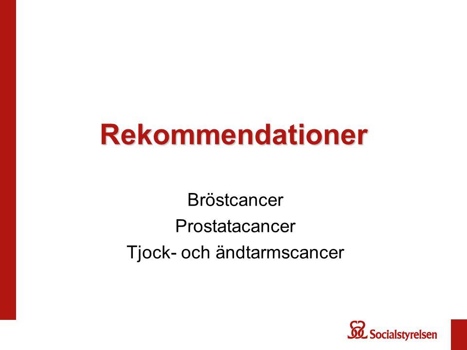 Rekommendationer Bröstcancer Prostatacancer Tjock- och ändtarmscancer