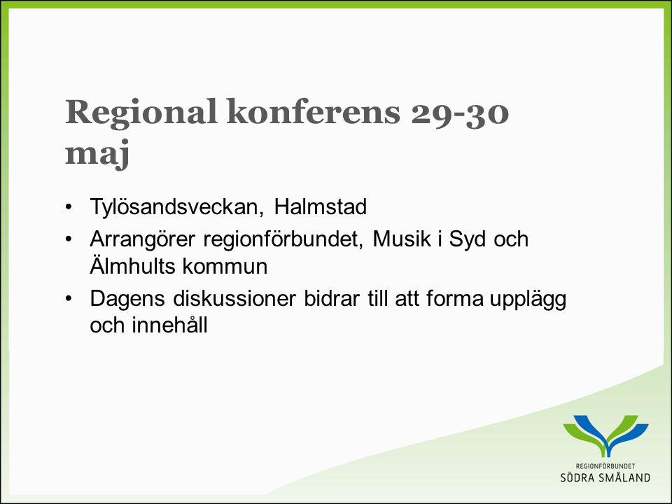 Regional konferens 29-30 maj •Tylösandsveckan, Halmstad •Arrangörer regionförbundet, Musik i Syd och Älmhults kommun •Dagens diskussioner bidrar till att forma upplägg och innehåll