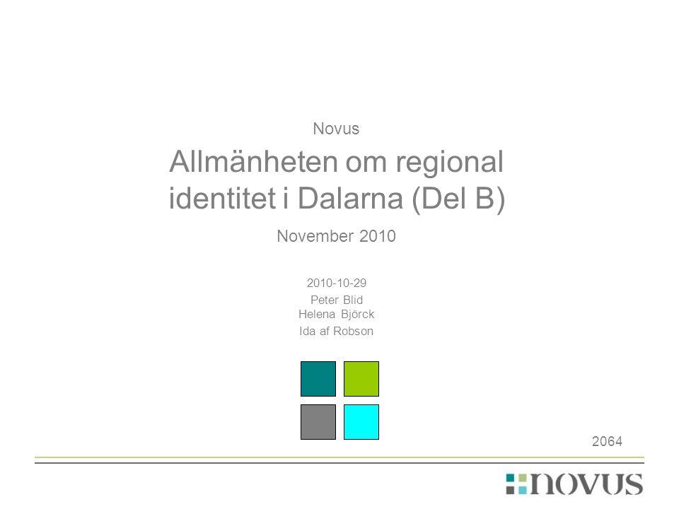 Om undersökningen •Undersökningen har genomförts av Novus på uppdrag av BNG/Region Dalarna och består av en mätning gällande allmänhetens uppfattning om regional identitet i Dalarna.