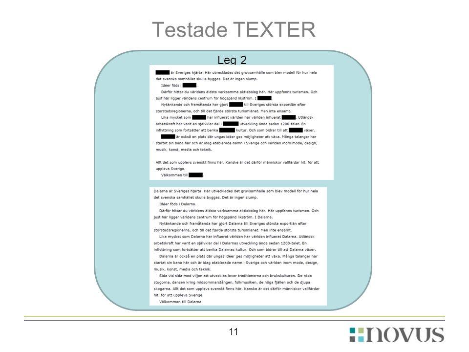 Testade TEXTER 11 Leg 2