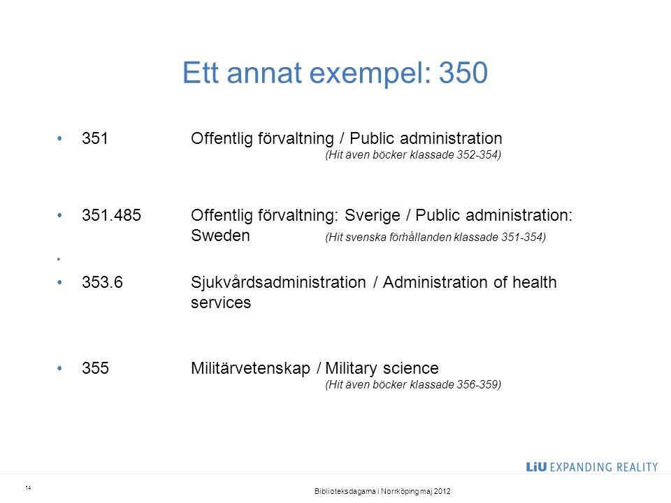 Ett annat exempel: 350 •351Offentlig förvaltning / Public administration (Hit även böcker klassade 352-354) •351.485Offentlig förvaltning: Sverige / P