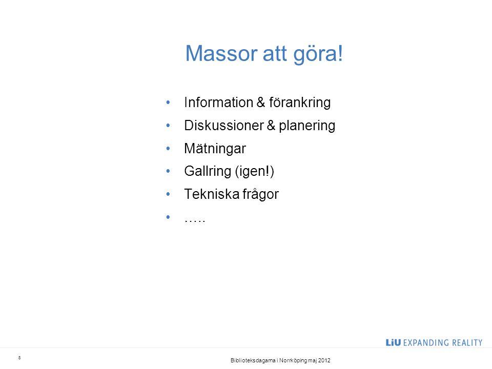 Massor att göra! •Information & förankring •Diskussioner & planering •Mätningar •Gallring (igen!) •Tekniska frågor •….. Biblioteksdagarna i Norrköping