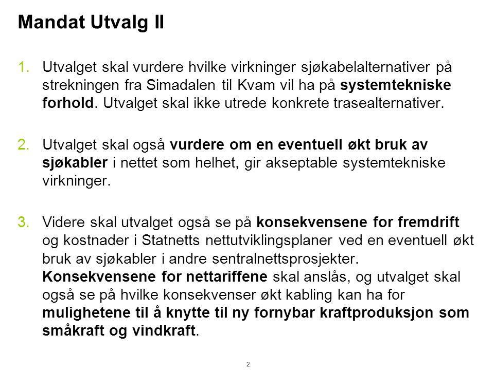 Mandat Utvalg II 1.Utvalget skal vurdere hvilke virkninger sjøkabelalternativer på strekningen fra Simadalen til Kvam vil ha på systemtekniske forhold.