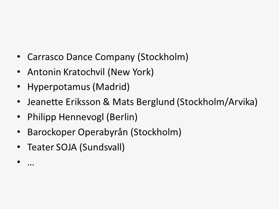 • Carrasco Dance Company (Stockholm) • Antonin Kratochvil (New York) • Hyperpotamus (Madrid) • Jeanette Eriksson & Mats Berglund (Stockholm/Arvika) •