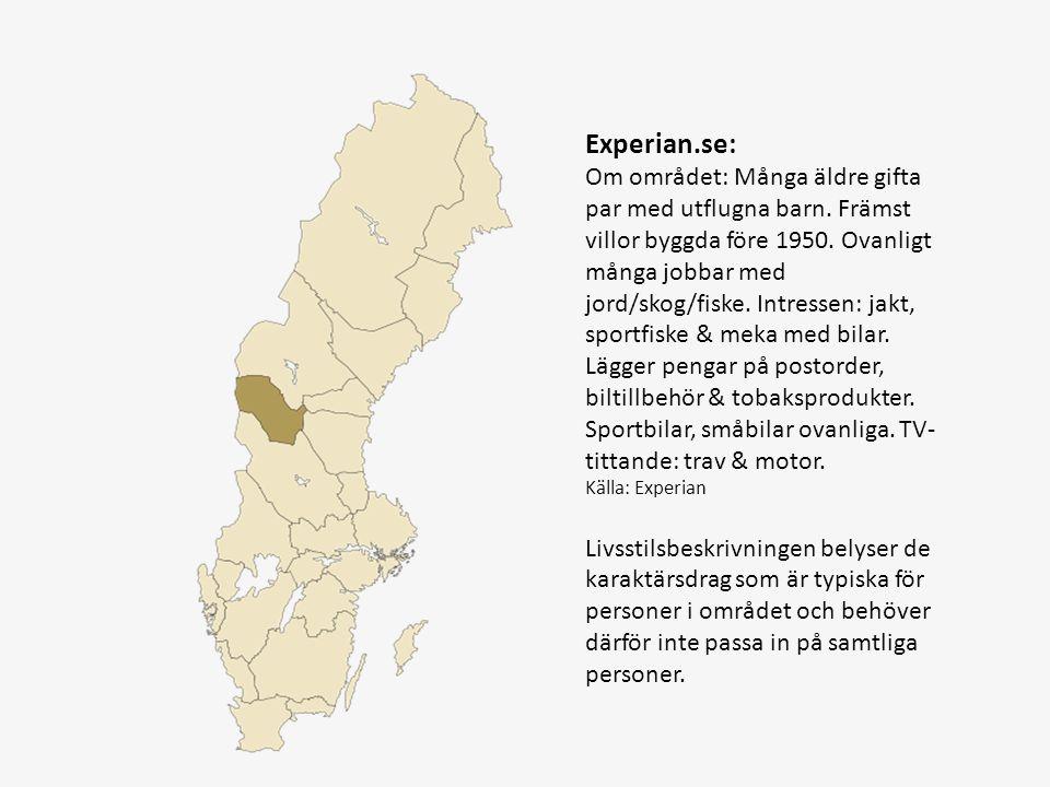 Experian.se: Om området: Många äldre gifta par med utflugna barn. Främst villor byggda före 1950. Ovanligt många jobbar med jord/skog/fiske. Intressen