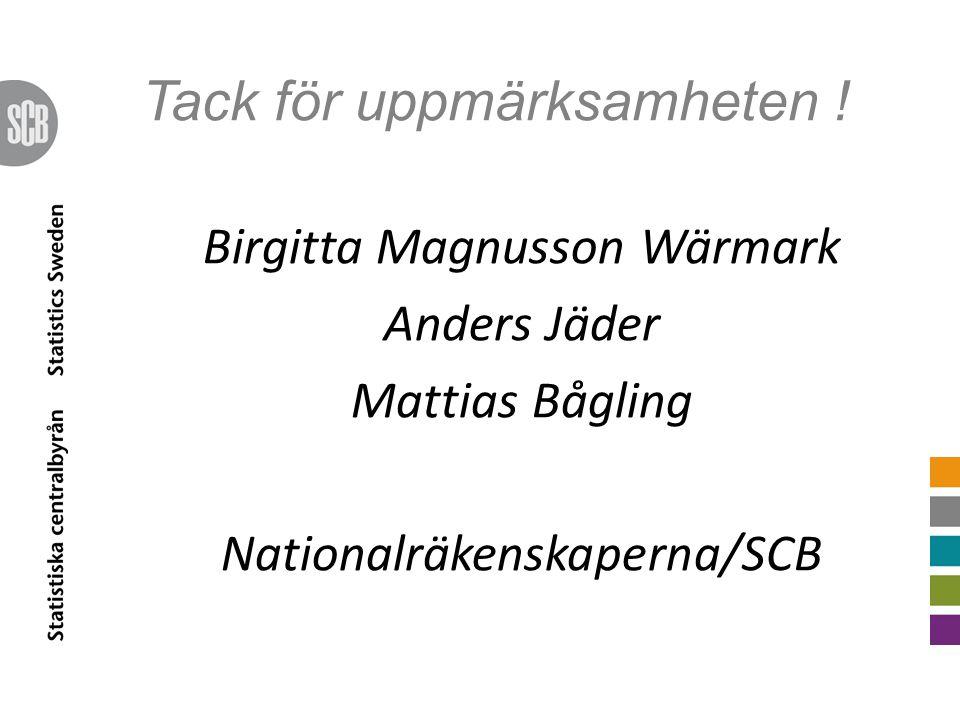 Tack för uppmärksamheten ! Birgitta Magnusson Wärmark Anders Jäder Mattias Bågling Nationalräkenskaperna/SCB