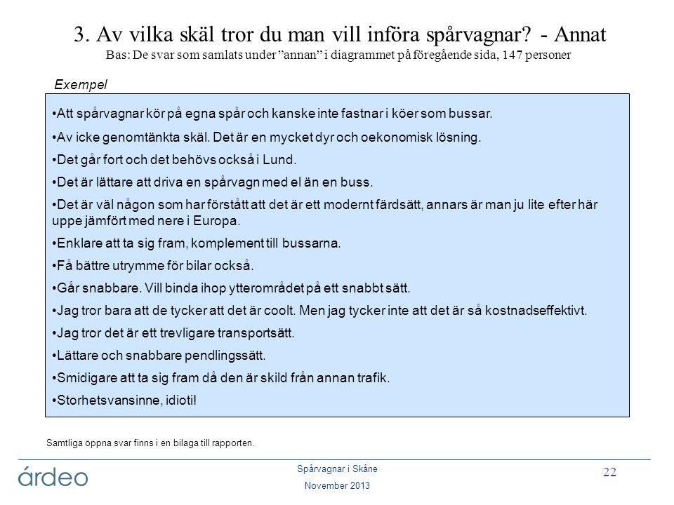 """Spårvagnar i Skåne November 2013 22 3. Av vilka skäl tror du man vill införa spårvagnar? - Annat Bas: De svar som samlats under """"annan"""" i diagrammet p"""
