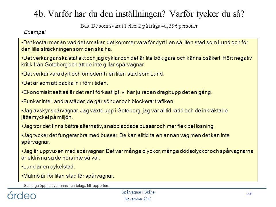 Spårvagnar i Skåne November 2013 26 4b. Varför har du den inställningen? Varför tycker du så? Bas: De som svarat 1 eller 2 på fråga 4a, 396 personer E