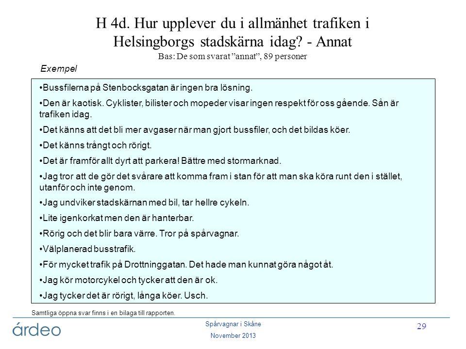"""Spårvagnar i Skåne November 2013 29 H 4d. Hur upplever du i allmänhet trafiken i Helsingborgs stadskärna idag? - Annat Bas: De som svarat """"annat"""", 89"""