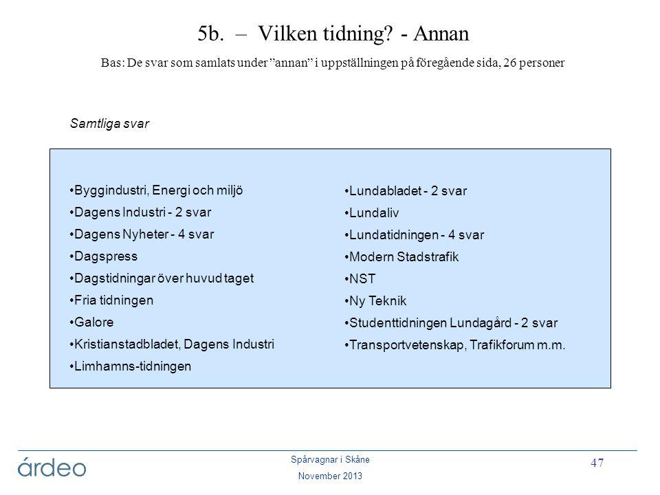 """Spårvagnar i Skåne November 2013 47 5b. – Vilken tidning? - Annan Bas: De svar som samlats under """"annan"""" i uppställningen på föregående sida, 26 perso"""