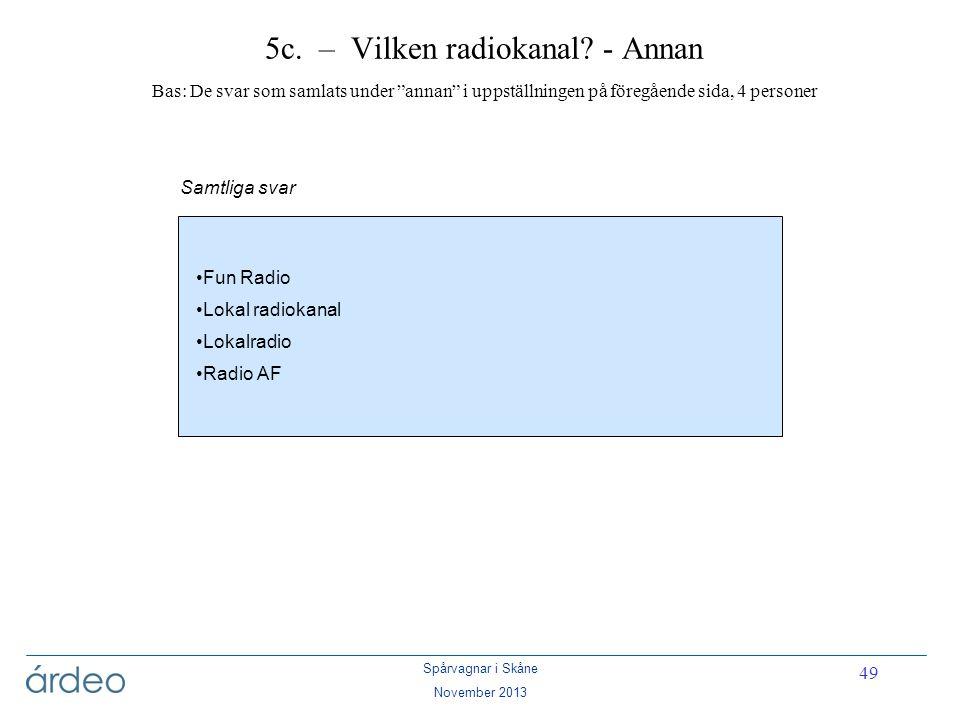 """Spårvagnar i Skåne November 2013 49 5c. – Vilken radiokanal? - Annan Bas: De svar som samlats under """"annan"""" i uppställningen på föregående sida, 4 per"""