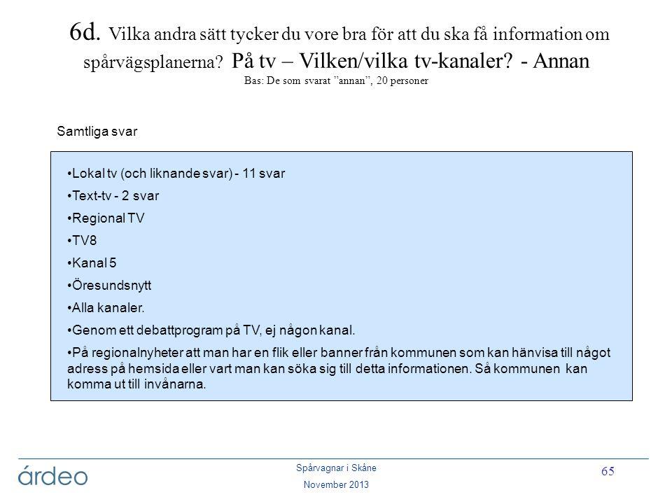 Spårvagnar i Skåne November 2013 65 6d. Vilka andra sätt tycker du vore bra för att du ska få information om spårvägsplanerna? På tv – Vilken/vilka tv