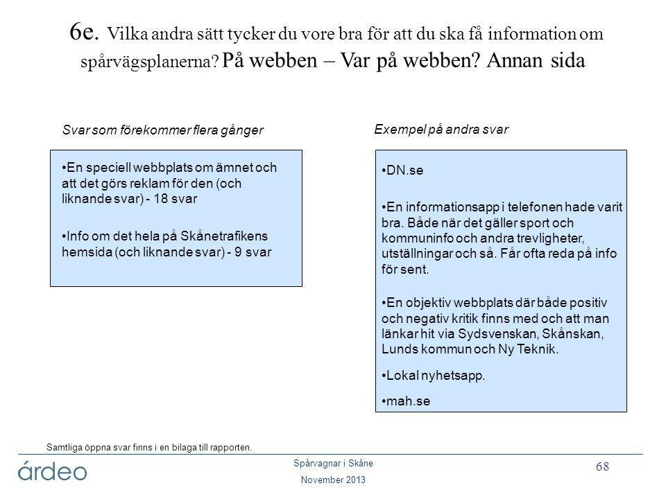 Spårvagnar i Skåne November 2013 68 6e. Vilka andra sätt tycker du vore bra för att du ska få information om spårvägsplanerna? På webben – Var på webb