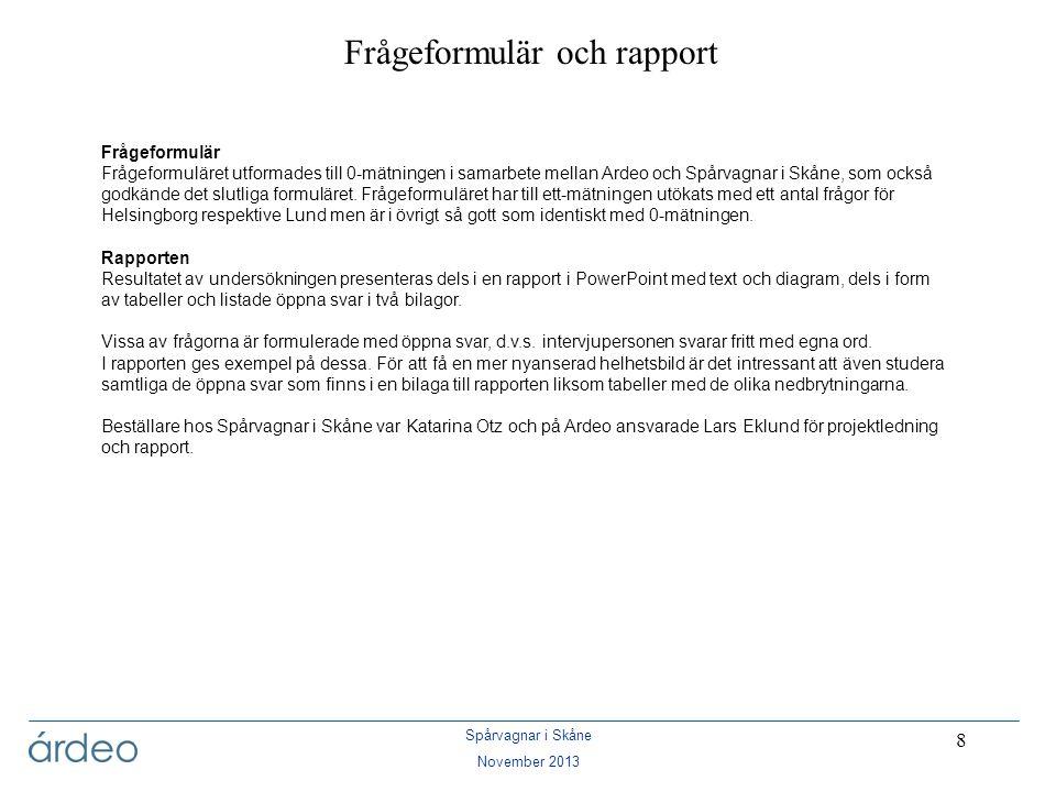 Spårvagnar i Skåne November 2013 89 Kommentarer – Lund, fortsättning På frågan om hur intresserad man är av de förändringar som sker i staden blir medelvärdet något lägre i gruppen upp till 30 år (3,3 av 5).