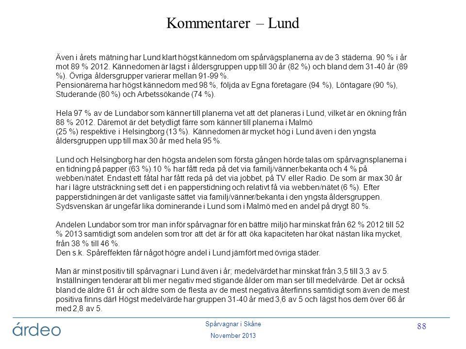Spårvagnar i Skåne November 2013 88 Kommentarer – Lund Även i årets mätning har Lund klart högst kännedom om spårvägsplanerna av de 3 städerna. 90 % i