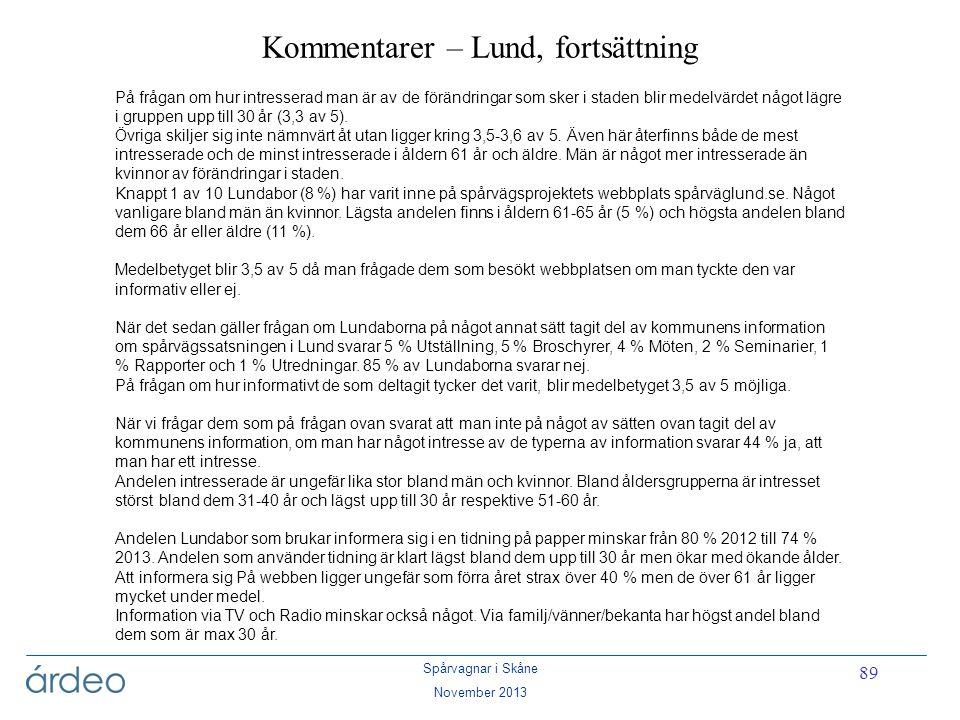 Spårvagnar i Skåne November 2013 89 Kommentarer – Lund, fortsättning På frågan om hur intresserad man är av de förändringar som sker i staden blir med