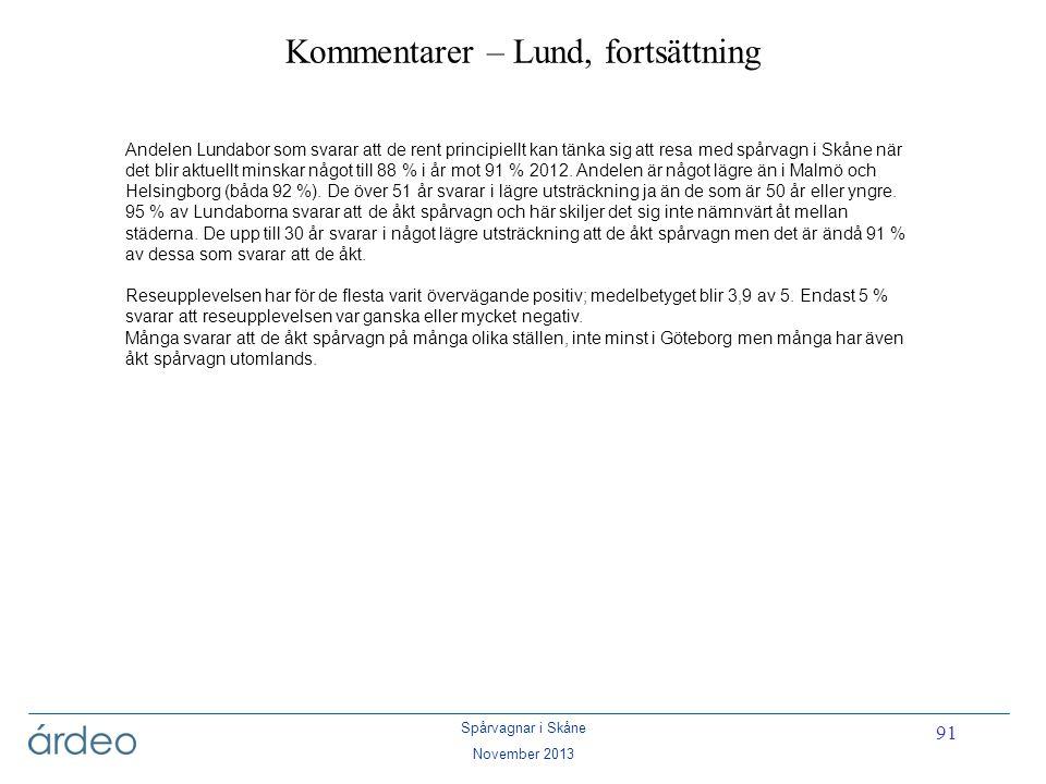Spårvagnar i Skåne November 2013 91 Kommentarer – Lund, fortsättning Andelen Lundabor som svarar att de rent principiellt kan tänka sig att resa med s