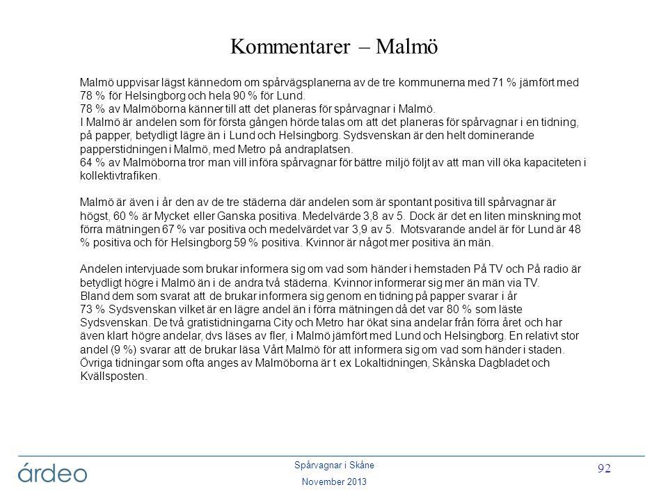Spårvagnar i Skåne November 2013 92 Kommentarer – Malmö Malmö uppvisar lägst kännedom om spårvägsplanerna av de tre kommunerna med 71 % jämfört med 78