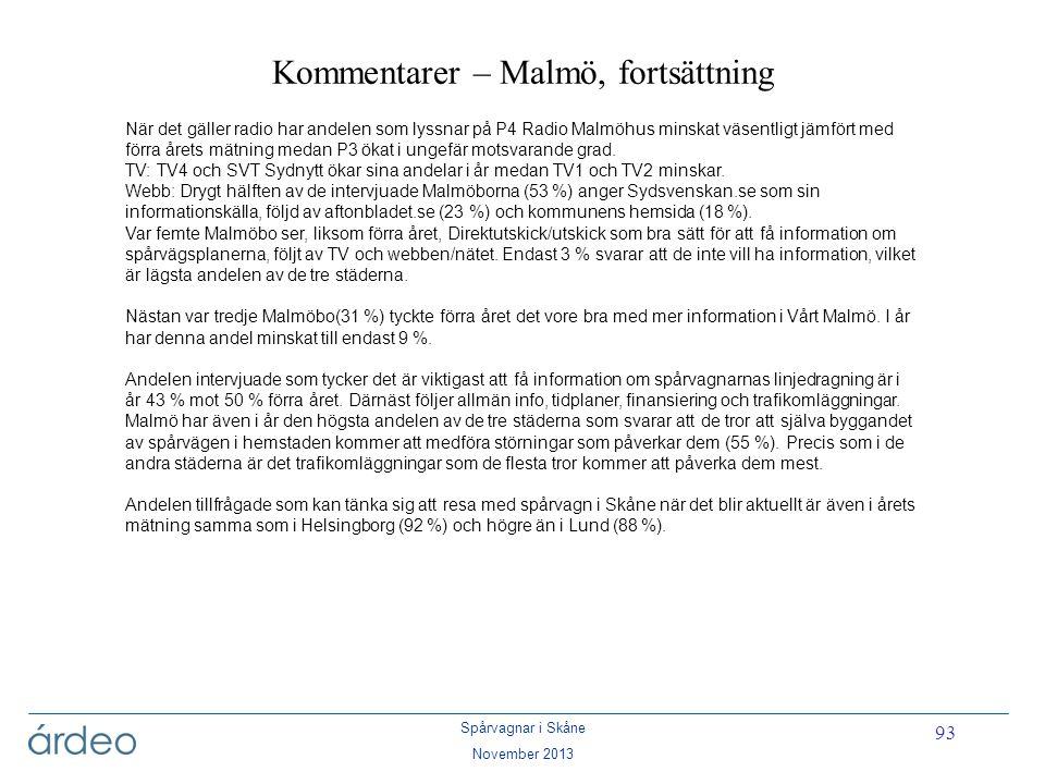 Spårvagnar i Skåne November 2013 93 Kommentarer – Malmö, fortsättning När det gäller radio har andelen som lyssnar på P4 Radio Malmöhus minskat väsent