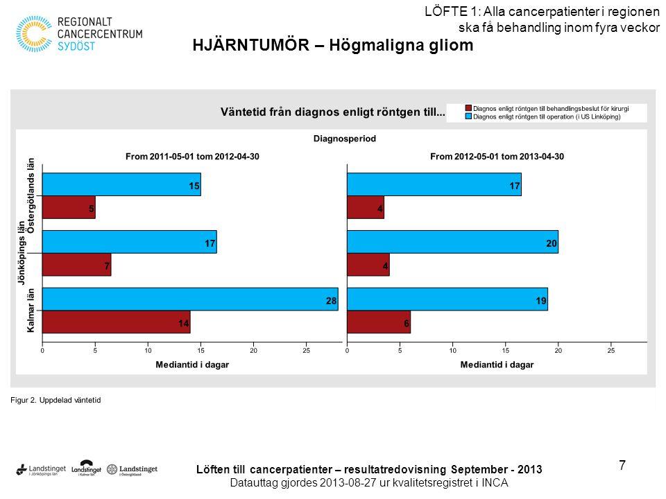 8 LÖFTE 1: Alla cancerpatienter i regionen ska få behandling inom fyra veckor HJÄRNTUMÖR – Högmaligna gliom Löften till cancerpatienter – resultatredovisning September - 2013 Datauttag gjordes 2013-08-27 ur kvalitetsregistret i INCA