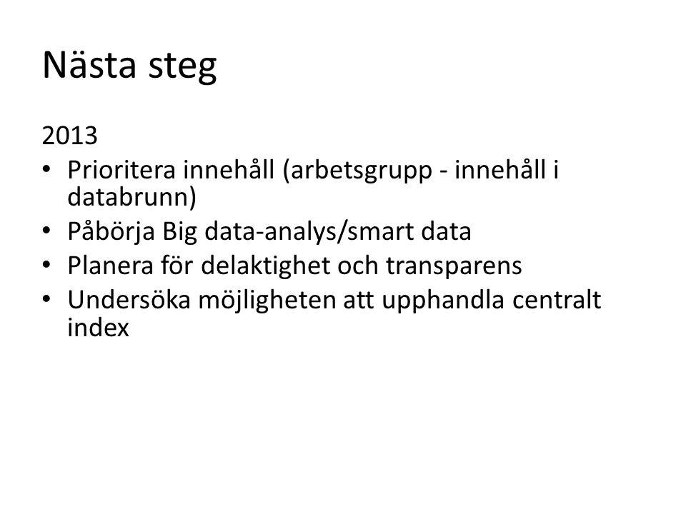 Nästa steg 2013 • Prioritera innehåll (arbetsgrupp - innehåll i databrunn) • Påbörja Big data-analys/smart data • Planera för delaktighet och transparens • Undersöka möjligheten att upphandla centralt index