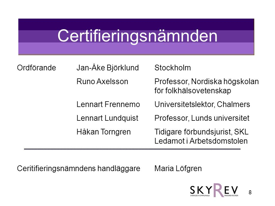 8 Certifieringsnämnden OrdförandeJan-Åke BjörklundStockholm Runo AxelssonProfessor, Nordiska högskolan för folkhälsovetenskap Lennart FrennemoUniversi