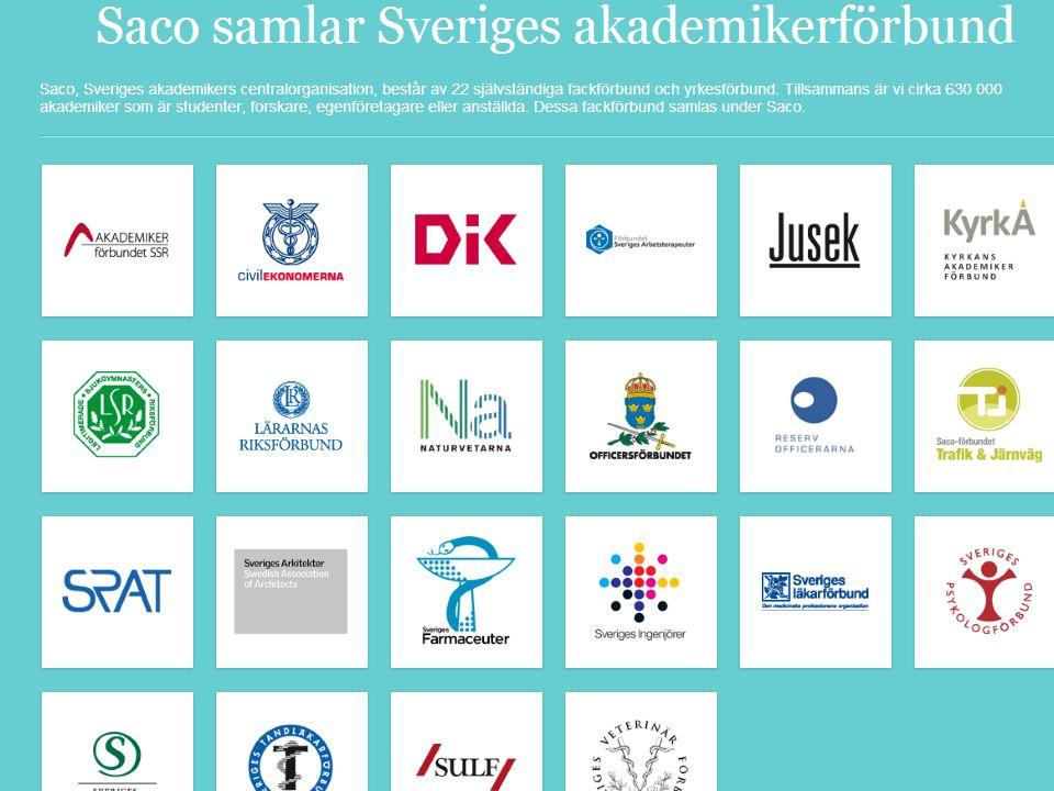 Vilka är vi.• Saco: den samlande organisationen för Sveriges akademiker.
