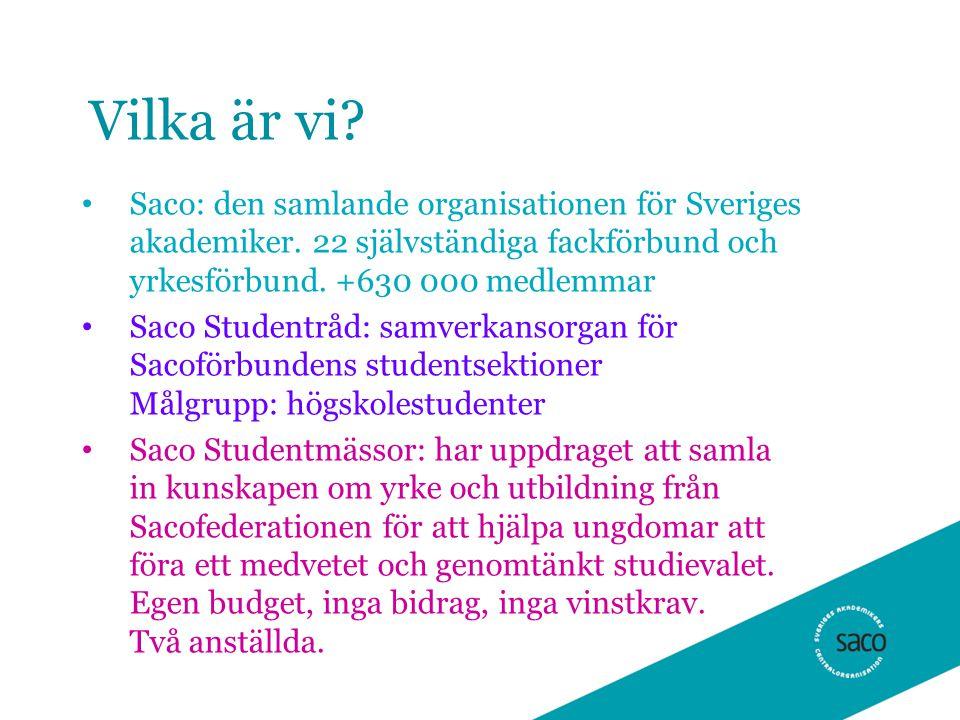 Vilka är vi? • Saco: den samlande organisationen för Sveriges akademiker. 22 självständiga fackförbund och yrkesförbund. +630 000 medlemmar • Saco Stu