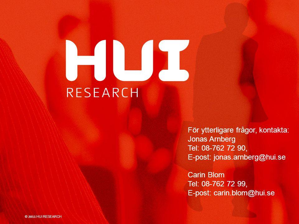 För ytterligare frågor, kontakta: Jonas Arnberg Tel: 08-762 72 90, E-post: jonas.arnberg@hui.se Carin Blom Tel: 08-762 72 99, E-post: carin.blom@hui.se © 2011 HUI RESEARCH