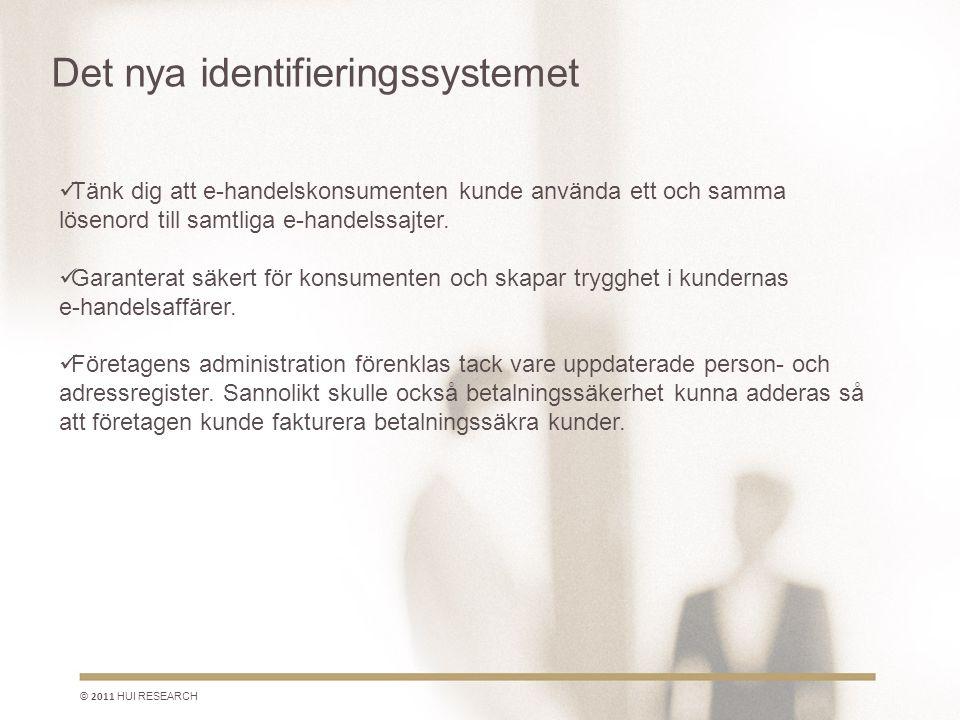 Det nya identifieringssystemet © 2011 HUI RESEARCH  Tänk dig att e-handelskonsumenten kunde använda ett och samma lösenord till samtliga e-handelssajter.