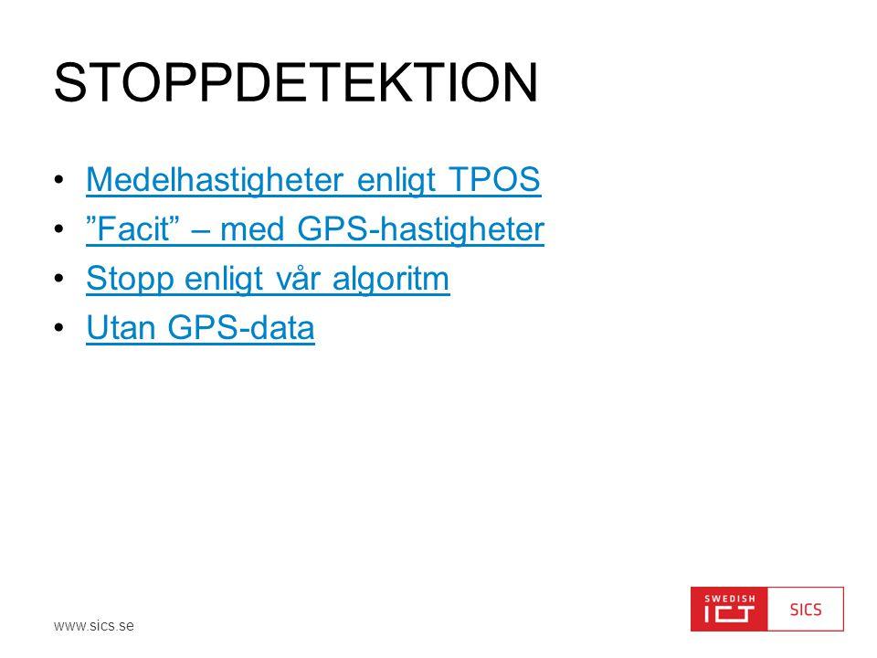 """www.sics.se STOPPDETEKTION •Medelhastigheter enligt TPOSMedelhastigheter enligt TPOS •""""Facit"""" – med GPS-hastigheter""""Facit"""" – med GPS-hastigheter •Stop"""