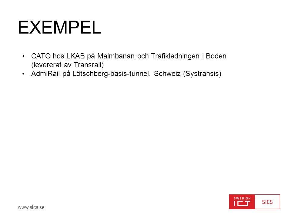 www.sics.se EXEMPEL •CATO hos LKAB på Malmbanan och Trafikledningen i Boden (levererat av Transrail) •AdmiRail på Lötschberg-basis-tunnel, Schweiz (Sy