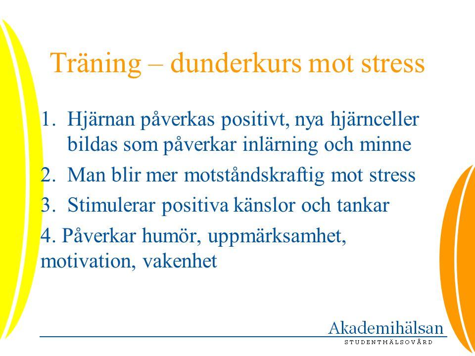 Träning – dunderkurs mot stress 1.Hjärnan påverkas positivt, nya hjärnceller bildas som påverkar inlärning och minne 2.Man blir mer motståndskraftig m