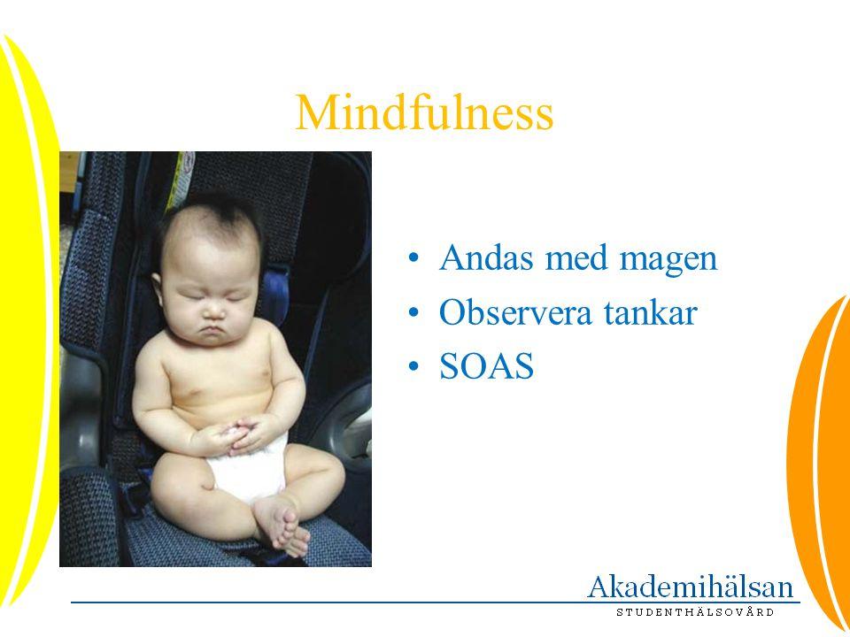 Mindfulness •Andas med magen •Observera tankar •SOAS