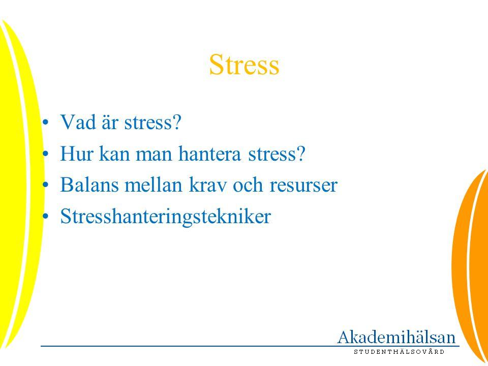 Stress •Vad är stress? •Hur kan man hantera stress? •Balans mellan krav och resurser •Stresshanteringstekniker