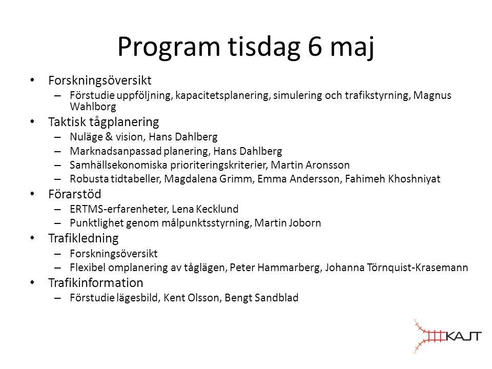 Program tisdag 6 maj • Forskningsöversikt – Förstudie uppföljning, kapacitetsplanering, simulering och trafikstyrning, Magnus Wahlborg • Taktisk tågpl