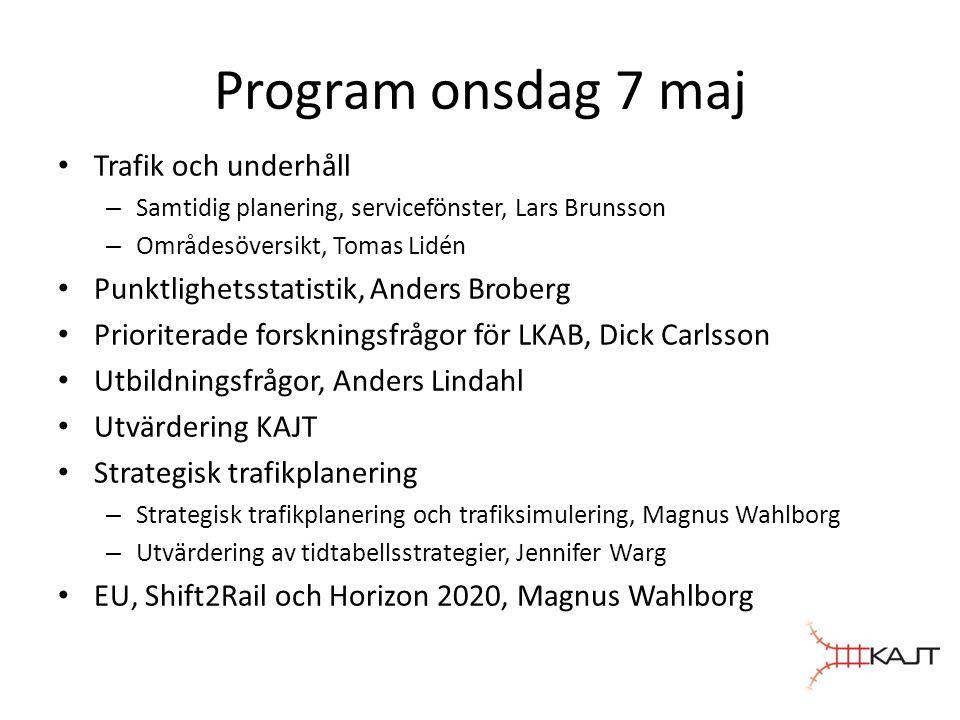 Program onsdag 7 maj • Trafik och underhåll – Samtidig planering, servicefönster, Lars Brunsson – Områdesöversikt, Tomas Lidén • Punktlighetsstatistik